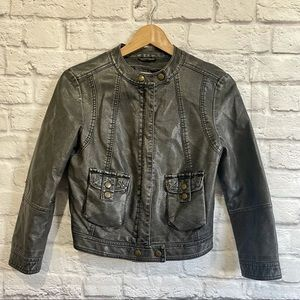 URBAN OUTFITTERS SILENCE & NOISE Faux Leather Moto Biker Jacket